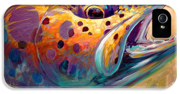 Brown iPhone 5 Cases - Fire From Water - Rainbow Trout Contemporary Art iPhone 5 Case by Savlen Art