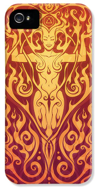Gaia iPhone 5 Cases - Fire Spirit v.2 iPhone 5 Case by Cristina McAllister