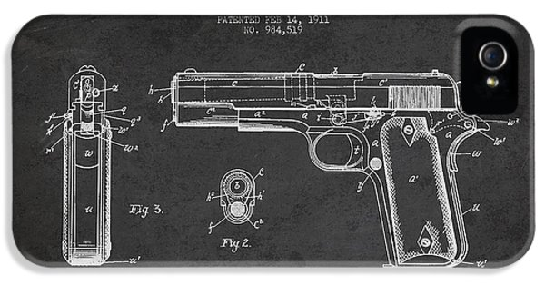 Guns iPhone 5 Cases - Firearm Patent Drawing from 1911 - Dark iPhone 5 Case by Aged Pixel