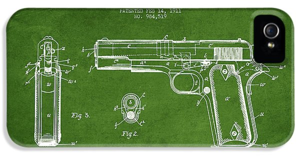 Guns iPhone 5 Cases - Firearm Patent Drawing from 1911 - Green iPhone 5 Case by Aged Pixel
