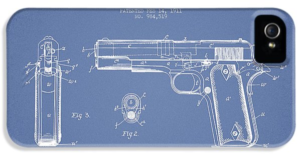 Guns iPhone 5 Cases - Firearm Patent Drawing from 1911 - Light Blue iPhone 5 Case by Aged Pixel