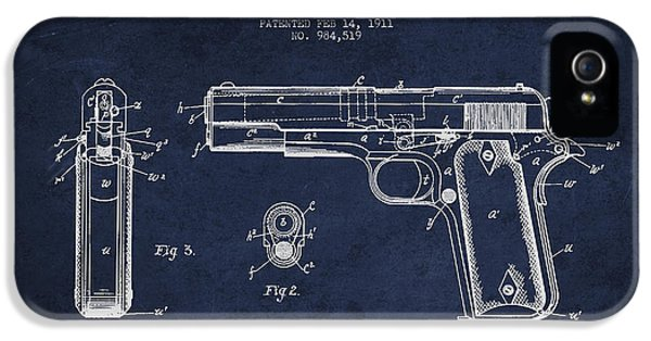 Guns iPhone 5 Cases - Firearm Patent Drawing from 1911 - Navy Blue iPhone 5 Case by Aged Pixel