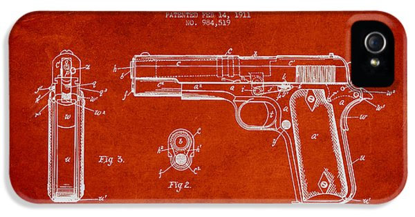 Guns iPhone 5 Cases - Firearm Patent Drawing from 1911 - Red iPhone 5 Case by Aged Pixel
