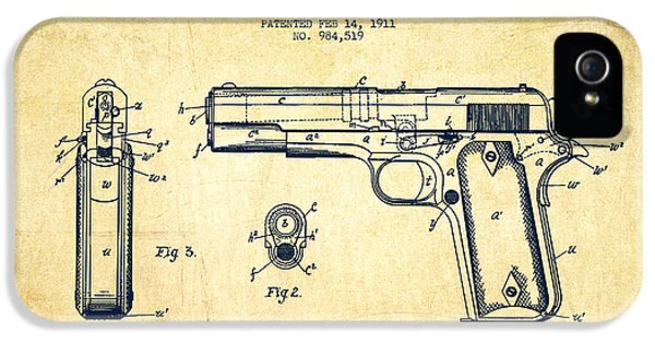 Guns iPhone 5 Cases - Firearm Patent Drawing from 1911 - Vintage iPhone 5 Case by Aged Pixel