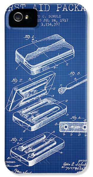 Illness iPhone 5 Cases - First Aid Package Patent from 1917 - Blueprint iPhone 5 Case by Aged Pixel