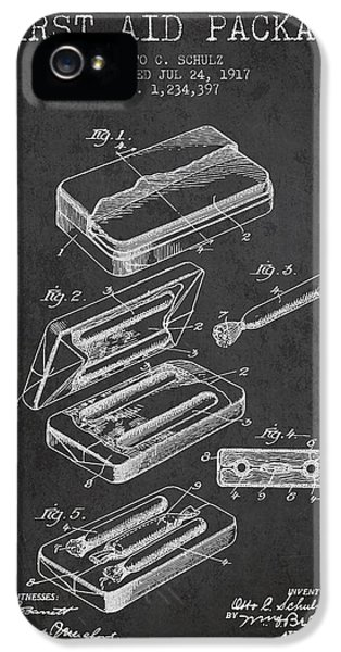 Illness iPhone 5 Cases - First Aid Package Patent from 1917 - Charcoal iPhone 5 Case by Aged Pixel