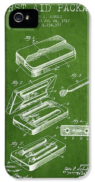 Illness iPhone 5 Cases - First Aid Package Patent from 1917 - Green iPhone 5 Case by Aged Pixel