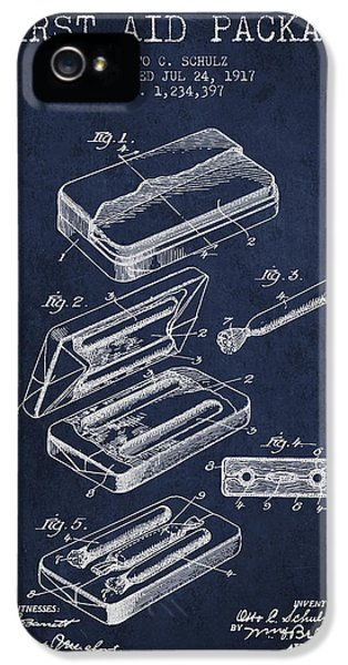 Illness iPhone 5 Cases - First Aid Package Patent from 1917 - navy Blue iPhone 5 Case by Aged Pixel