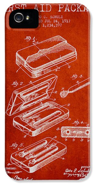 Illness iPhone 5 Cases - First Aid Package Patent from 1917 - red iPhone 5 Case by Aged Pixel