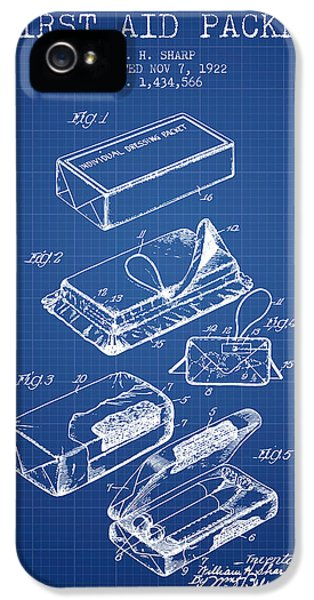 Illness iPhone 5 Cases - First Aid Packet Patent from 1922 - Blueprint iPhone 5 Case by Aged Pixel