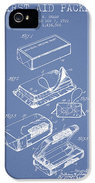 Illness iPhone 5 Cases - First Aid Packet Patent from 1922 - Light Blue iPhone 5 Case by Aged Pixel