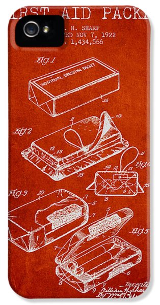 Illness iPhone 5 Cases - First Aid Packet Patent from 1922 - Red iPhone 5 Case by Aged Pixel