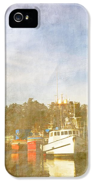 Oregon Coast Landscapes iPhone 5 Cases - Fishing Boats Newport Oregon iPhone 5 Case by Carol Leigh