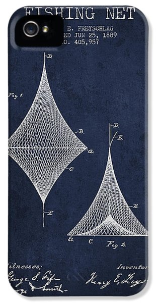 Net iPhone 5 Cases - Fishing Net Patent from 1889- Navy Blue iPhone 5 Case by Aged Pixel