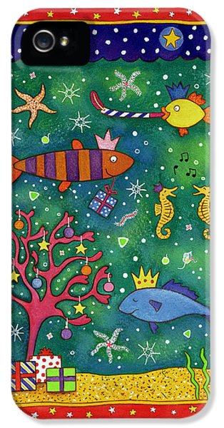 Underwater iPhone 5 Cases - Fishy Christmas, 1997 Wc And Pastel On Paper iPhone 5 Case by Cathy Baxter