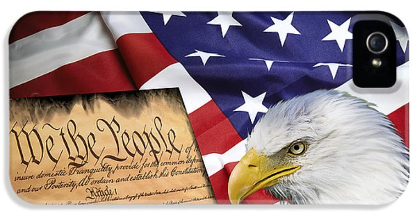 We The People iPhone 5 Cases - Flag Constitution Eagle iPhone 5 Case by Daniel Hagerman