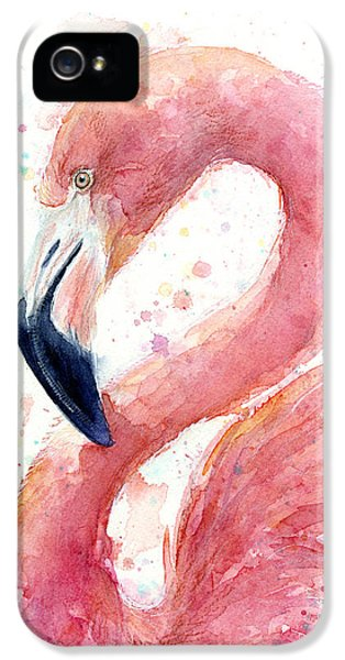 Flamingo iPhone 5 Cases - Flamingo Watercolor Painting iPhone 5 Case by Olga Shvartsur