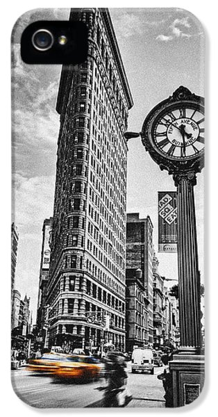 Clock iPhone 5 Cases - Flatiron Rush iPhone 5 Case by Andrew Paranavitana