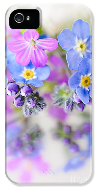 Forget Me Not iPhone 5 Cases - Floral Reflection iPhone 5 Case by Jan Bickerton