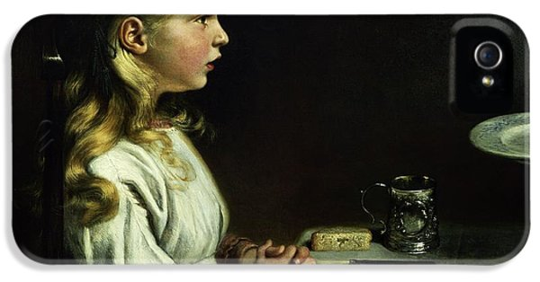 Patiently iPhone 5 Cases - Florence Cope Saying Grace At Dinnertime iPhone 5 Case by Charles West Cope