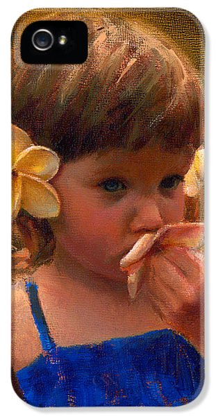 Flower Girl - Tropical Portrait With Plumeria Flowers IPhone 5 / 5s Case by Karen Whitworth
