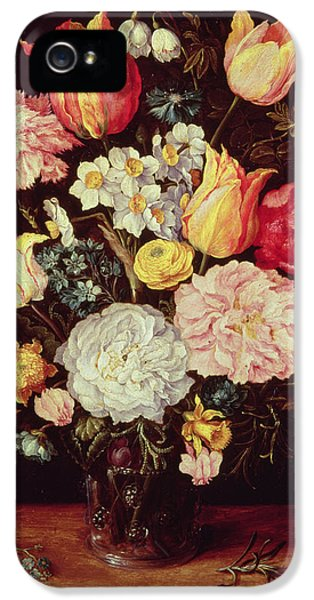 Forget Me Not iPhone 5 Cases - Flower Piece iPhone 5 Case by Pieter the Younger Brueghel