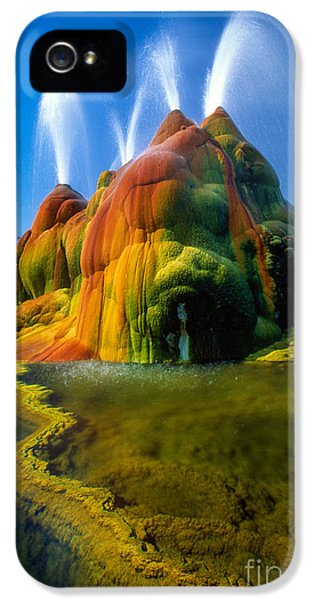 Fly iPhone 5 Cases - Fly Geyser Travertine iPhone 5 Case by Inge Johnsson