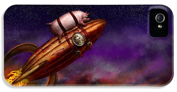 Rockets iPhone 5 Cases - Flying Pig - Rocket - To the moon or bust iPhone 5 Case by Mike Savad