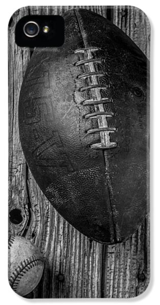 Stitch iPhone 5 Cases - Football and Baseball iPhone 5 Case by Garry Gay