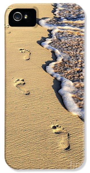 Sand iPhone 5 Cases - Footprints on beach iPhone 5 Case by Elena Elisseeva