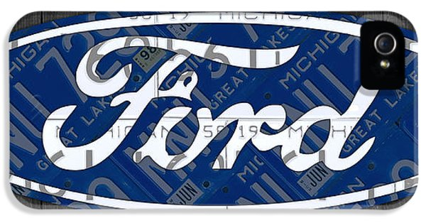 Drive iPhone 5 Cases - Ford Motor Company Retro Logo License Plate Art iPhone 5 Case by Design Turnpike