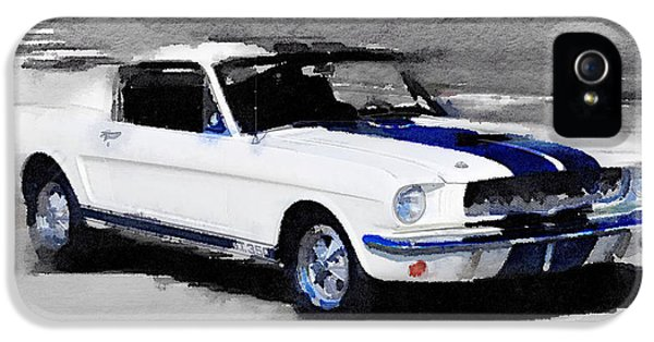 Ford Classic Car iPhone 5 Cases - Ford Mustang Shelby Watercolor iPhone 5 Case by Naxart Studio