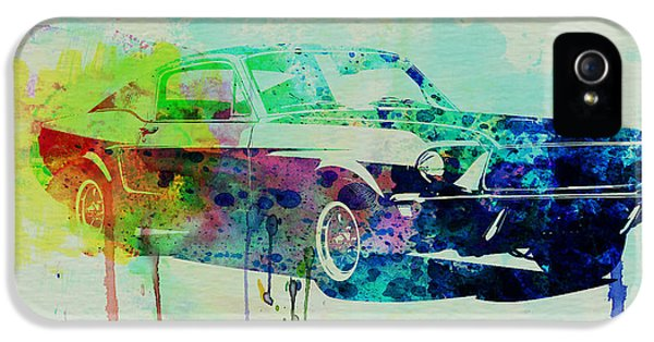 Ford Classic Car iPhone 5 Cases - Ford Mustang Watercolor 2 iPhone 5 Case by Naxart Studio
