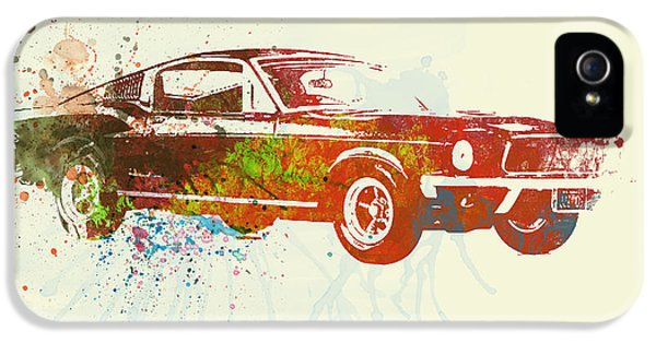 Ford Classic Car iPhone 5 Cases - Ford Mustang Watercolor iPhone 5 Case by Naxart Studio