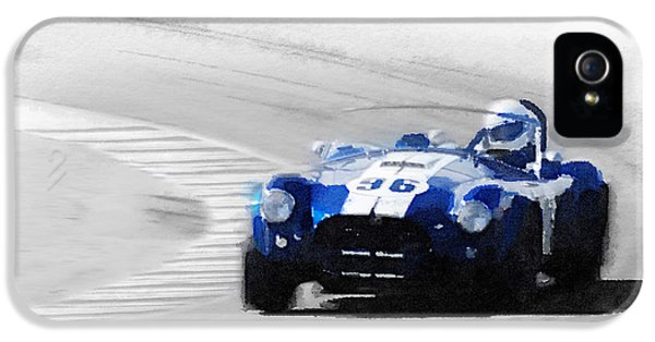 Ford Classic Car iPhone 5 Cases - Ford Shelby Cobra Laguna Seca Watercolor iPhone 5 Case by Naxart Studio