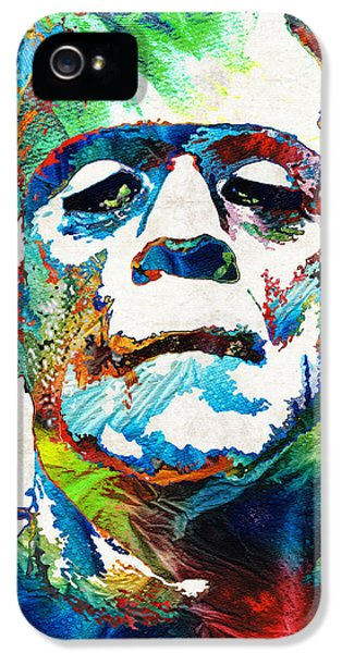 Screen iPhone 5 Cases - Frankenstein Art - Colorful Monster - By Sharon Cummings iPhone 5 Case by Sharon Cummings