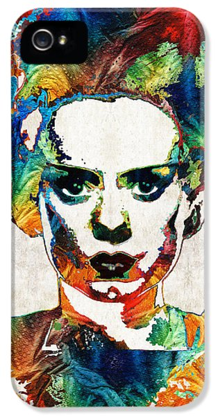 Screen iPhone 5 Cases - Frankenstein Bride Art - Colorful Monster Bride - By Sharon Cummings iPhone 5 Case by Sharon Cummings