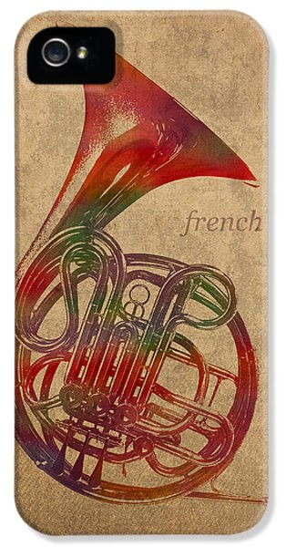 Horn iPhone 5 Cases - French Horn Brass Instrument Watercolor Portrait on Worn Canvas iPhone 5 Case by Design Turnpike
