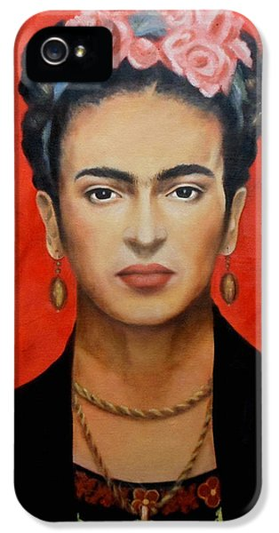 Face iPhone 5 Cases - Frida Kahlo iPhone 5 Case by Elena Day