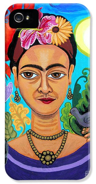 Gaia iPhone 5 Cases - Frida Kahlo With Monkey and Bird iPhone 5 Case by Genevieve Esson