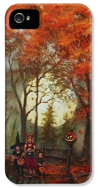 Spooky iPhone 5 Cases - Full Moon on Halloween Lane iPhone 5 Case by Tom Shropshire