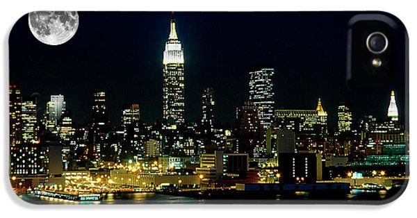 Nyc iPhone 5 Cases - Full Moon Rising - New York City iPhone 5 Case by Anthony Sacco