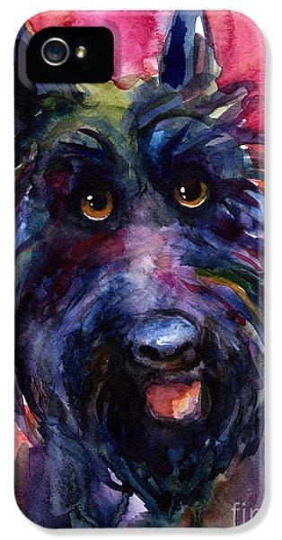 Scottie iPhone 5 Cases - Funny curious Scottish terrier dog portrait iPhone 5 Case by Svetlana Novikova