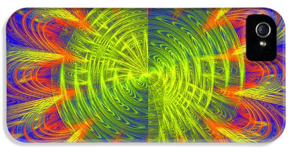 Disc iPhone 5 Cases - Futuristic Disc Blue Red And Yellow Fractal Flame iPhone 5 Case by Keith Webber Jr