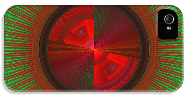 Disc iPhone 5 Cases - Futuristic Green And Red Tech Disc Fractal Flame iPhone 5 Case by Keith Webber Jr