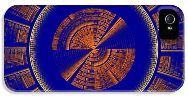 Disc iPhone 5 Cases - Futuristic Tech Disc Blue And Orange Fractal Flame iPhone 5 Case by Keith Webber Jr