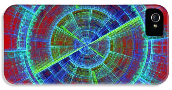 Disc iPhone 5 Cases - Futuristic Tech Disc Red And Blue Fractal Flame iPhone 5 Case by Keith Webber Jr