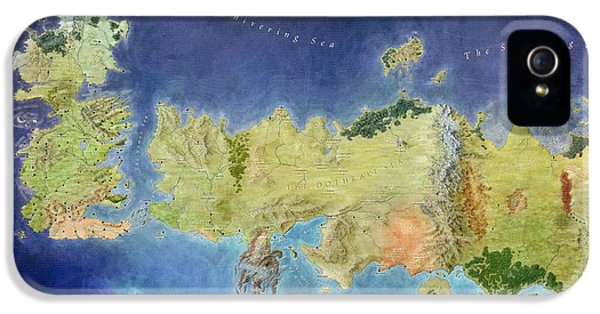 Tv Show iPhone 5 Cases - Game of Thrones World Map iPhone 5 Case by Gianfranco Weiss