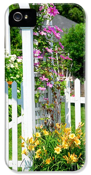 Flowering iPhone 5 Cases - Garden with picket fence iPhone 5 Case by Elena Elisseeva