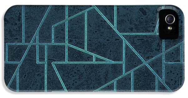 Asymmetrical iPhone 5 Cases - Geometric Abstraction In Blue iPhone 5 Case by David Gordon